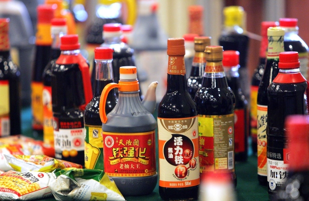 2007 file photo of soy sauce bottles, Beijing
