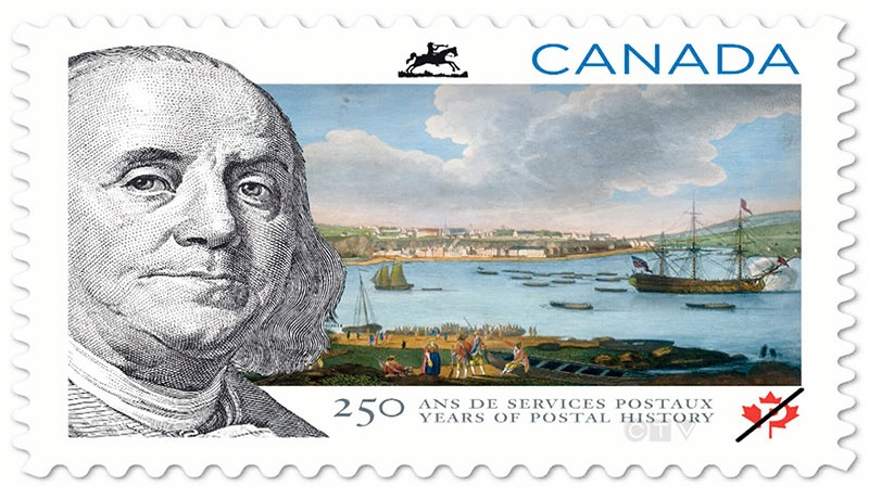 A new stamp from Canada Post featuring U.S. founding father Benjamin Franklin is pictured. The new stamp to be issued by Canada Post Monday is already raising eyebrows for its depiction of the famous American inventor, philosopher and statesman. (Canada Post)