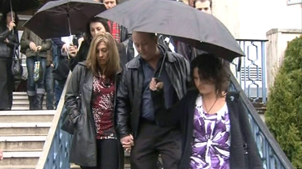 Members of the Proctor family speak outside a B.C. courtroom on Monday, April 4, 2011.