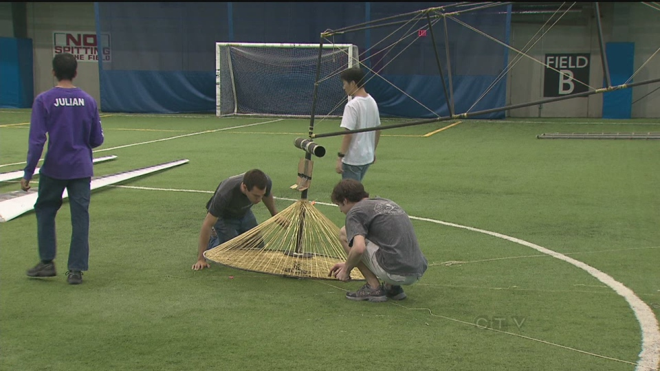 A group of University of Toronto engineering students building a human-powered helicopter. (CTV Toronto)