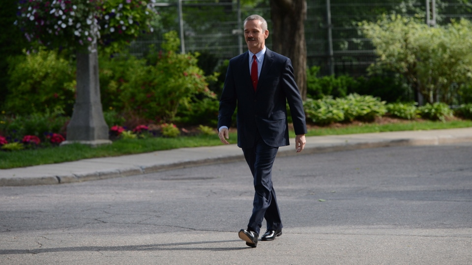 Canadian astronaut Chris Hadfield walks on his way to meet Prime Minister Stephen Harper at 24 Sussex Drive, the official residence of the Prime Minister, in Ottawa on Monday, June 10, 2013. (Sean Kilpatrick / THE CANADIAN PRESS)