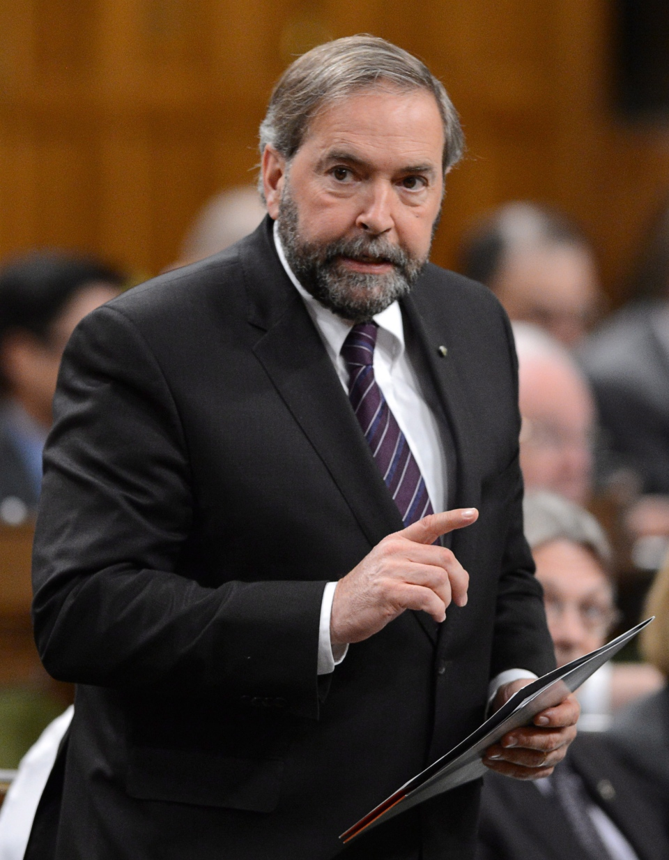 NDP leader Tom Mulcair asks a question during question period in the House of Commons on Parliament Hill in Ottawa on Monday, June 10, 2013. (Sean Kilpatrick / THE CANADIAN PRESS)