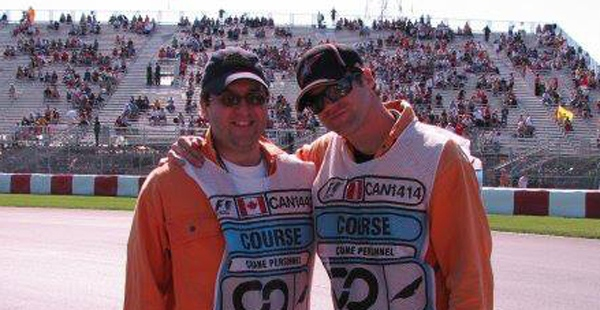 Mark Robinson, left, with his friend Tyler Hall at the Grand Prix (photo courtesy Tyler Hall)