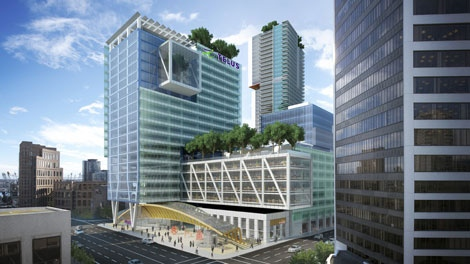 The new million-square-foot, $750-million Telus headquarters will feature more than 10,000 square feet of green roof space.  (Telus)