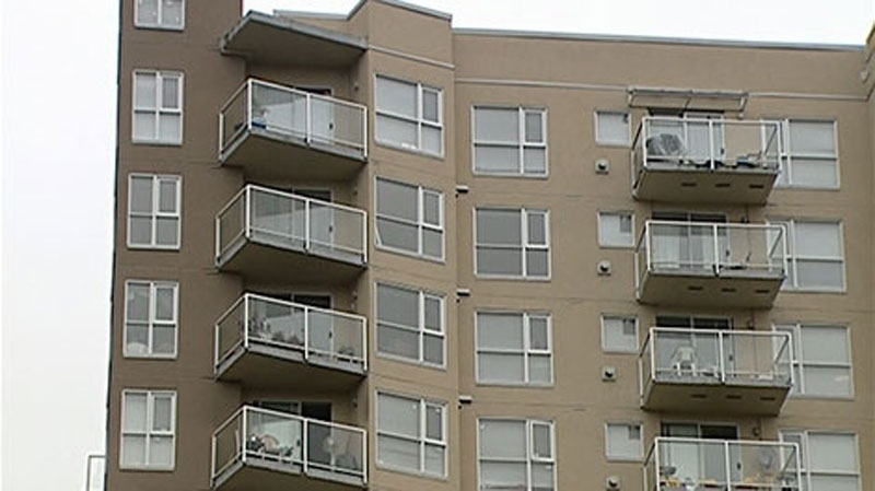 The Surrey highrise where six men were gunned down is seen in a CTV News image.