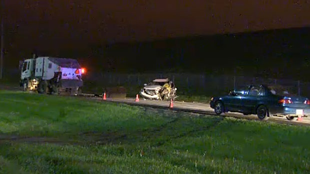 A man in his 30s was killed when he slammed into the back of a street sweeper early Tuesday morning.