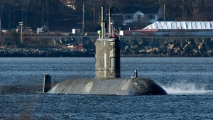 HMCS Windsor, one of Canada's Victoria-class submarines, performs sea trials in the Bedford Basin in Halifax in this December 2012 file photo. (Andrew Vaughan/THE CANADIAN PRESS)