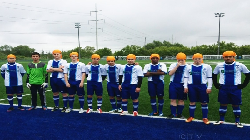 A Brossard soccer team wore turbans in a recent game to express solidarity with players banned for wearing turbans. (CTV Montreal)