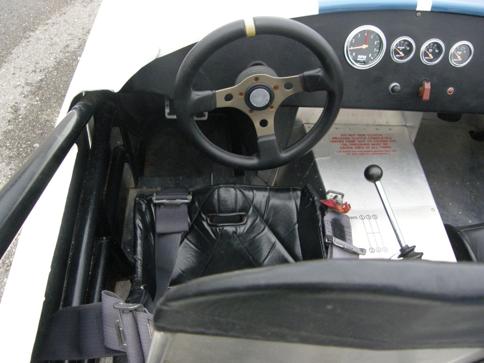 The interiour of the Replica Cobra Racecar.  Very minimal in it's setting. (Allan Jamieson)