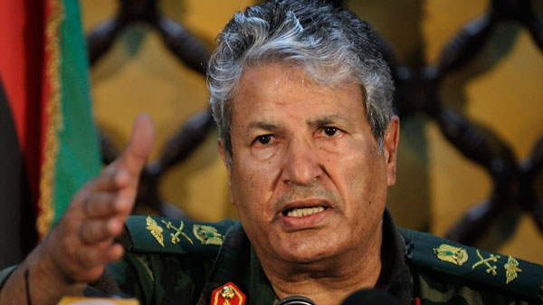 Libyan rebel military leader Abdel-Fattah Younis speaks to the media at a hotel in Benghazi, Libya Tuesday, April 5, 2011. (AP / Ben Curtis)