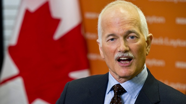 NDP Leader Jack Layton responds to a question during a news conference Wednesday, April 6, 2011 in Prince George, B.C. (Paul Chiasson / THE CANADIAN PRESS)