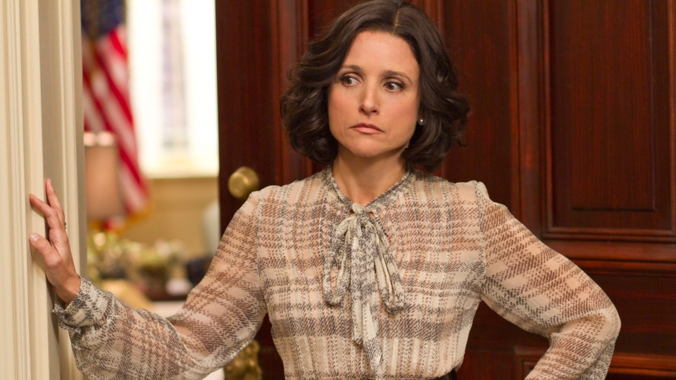 """Julia Louis-Dreyfus is shown portraying Vice-President Selina Meyer in a scene from """"Veep"""" in this undated handout image from HBO. (HBO/ Bill Gray)"""