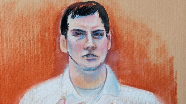 A sketch depicting accused murderer Mark Twitchell testifying during his trial at the Law Courts in Edmonton, Alta., on Wednesday, April 6, 2011. (Amanda McRoberts / THE CANADIAN PRESS)