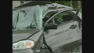 A woman had to be cut from her car after a crash with a gravel truck in Appin, Ont. on Wednesday, June 12, 2013.