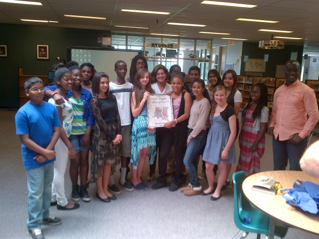 The Grade 8 class at JS Woodsworth Senior Public School and CTV's Chief Anchor and Senior Editor Lisa LaFlamme on Tuesday, June 12, 2013.