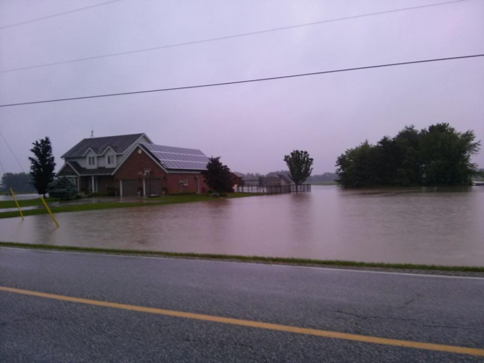 Heavy rainfall caused flooding at Lucier Estates in McGregor, Ont., on Thursday, June 13, 2013. (AM800)