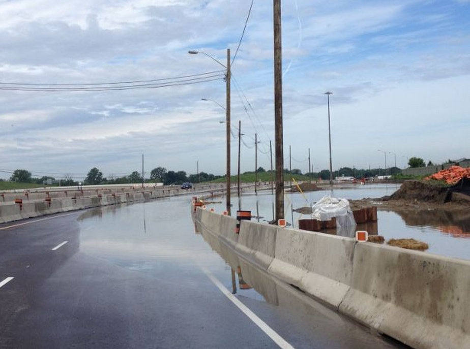 A section of Highway 401 westbound at Provincial Road was closed due to flooding on Thursday, June 13, 2013. (Gina Chung / CTV Windsor)
