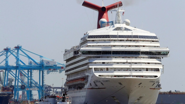 The Carnival Triumph departs from the Alabama Cruise Terminal in Mobile, Ala., Wednesday, May 8, 2013. (AP / Mike Kittrell, AL.com)