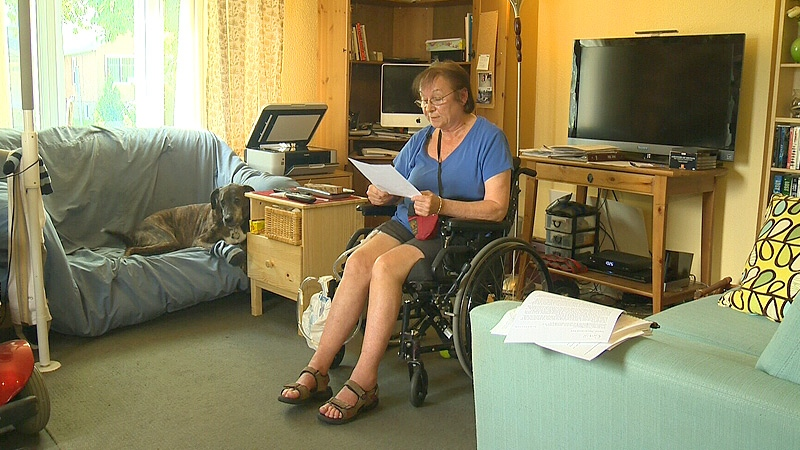 Vicki Johnston, who lives with MS, has written to Premier Alison Redford over her concerns about losing the homecare service she relies on.