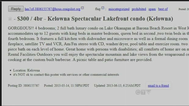 B C Woman Finds Own Condo Advertised On Craigslist Ctv News