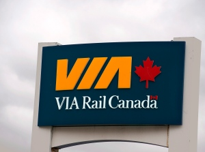 A Via Rail sign is seen in Halifax on Thursday, June 13, 2013. (Andrew Vaughan / THE CANADIAN PRESS)