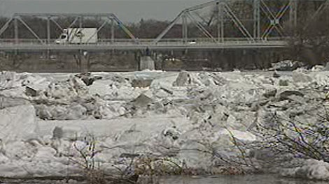 Government officials said river ice contributed to a rise in water levels in Winnipeg on April 7, 2011.