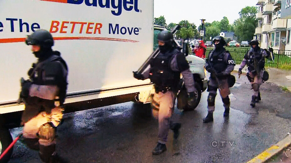 Police from multiple jurisdictions including Peel, York, Halton, Durham, the RCMP and Ontario Provincial Police were involved in early morning raids Thursday, June 13, 2013.
