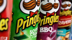 Pringles chips are displayed in a posed photo at a West Bath grocery store on Tuesday, April 5, 2011. (AP / Pat Wellenbach)