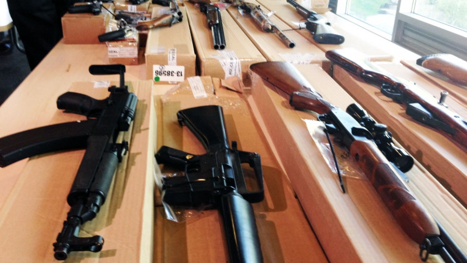 A total of 40 firearms were seized as part of the massive raids across the GTA Thursday, June 13, 2013. (Ashley Rowe / CTV Toronto)