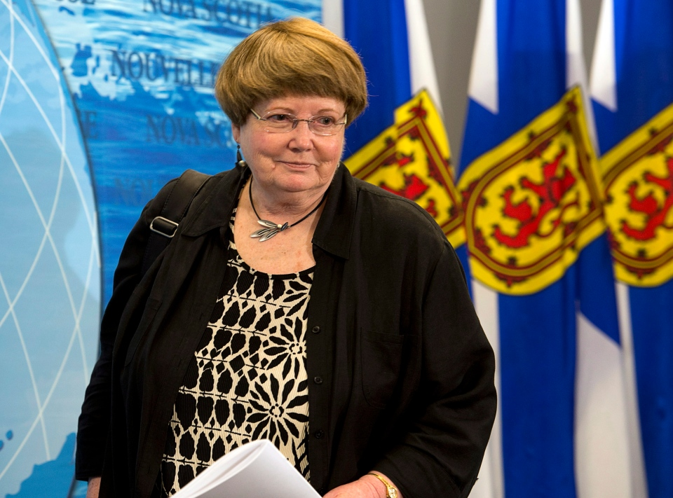 Nova Scotia Education Minister Marilyn More arrives at a news conference in Halifax on Friday, June 14, 2013. (Andrew Vaughan  / THE CANADIAN PRESS)