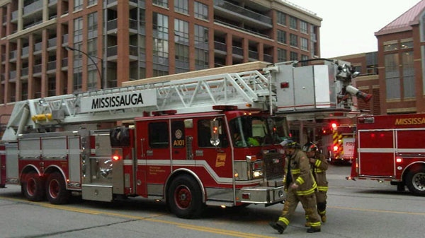 Fire crews at high-rise apartment at 4048 Living Arts Dr., in Mississauga, after a hot water pipe burst on April 7, 2011.