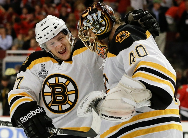Boston Bruins Torey Krug (47) Tuukka Rask (40)