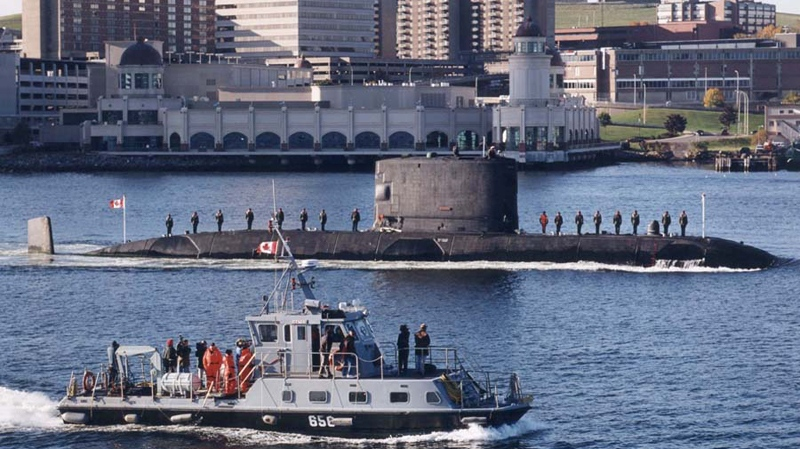 HMCS Victoria arrives in Halifax Harbour in this undated Department of National Defence photo.