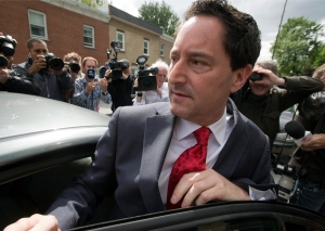 Montreal Mayor Michael Applebaum leaves police headquarters after being arrested on corruption charges Monday, June 17, 2013 in Montreal.THE CANADIAN PRESS/Ryan Remiorz