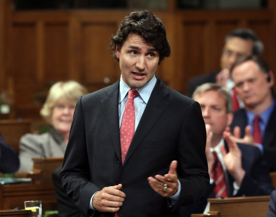 Liberal Leader Justin Trudeau stands in the House of Commons during Question Period on Parliament Hill, in Ottawa, Monday, June 17, 2013. (Fred Chartrand / THE CANADIAN PRESS)