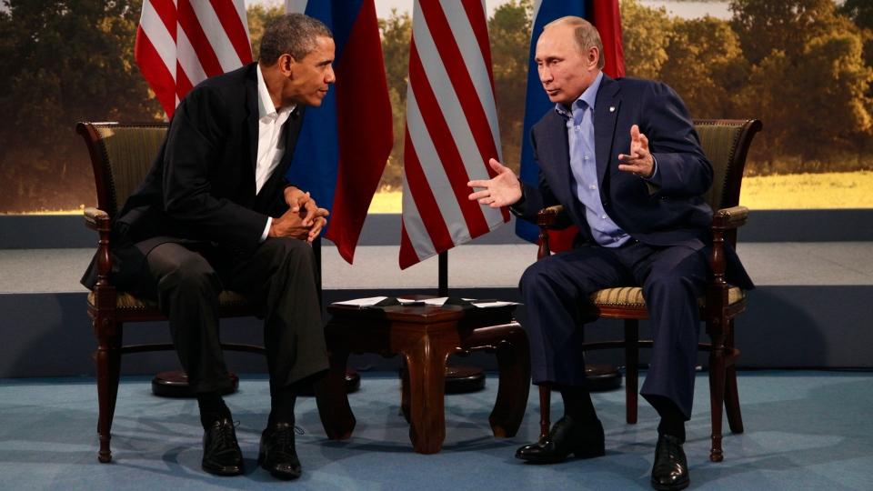 U.S. President Barack Obama meets with Russian President Vladimir Putin in Enniskillen, Northern Ireland, Monday, June 17, 2013. (AP / Evan Vucci)
