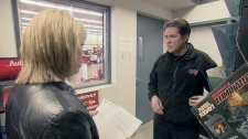 An employee of Canadian Tire refuses to speak with W5 reporter Paula Todd.