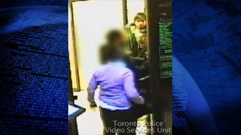 Toronto police have released security camera images of suspects who assaulted Valerie Bustros in a York University bar.