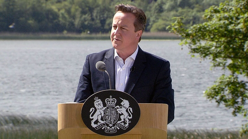 British Prime Minister David Cameron speaks at the G8 Summit in Northern Ireland, Tuesday, June 18, 2013.