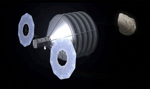 This image, courtesy of NASA, shows a conceptual drawing of what a space craft might look like as it captures an asteroid to bring it to the moon's orbit.