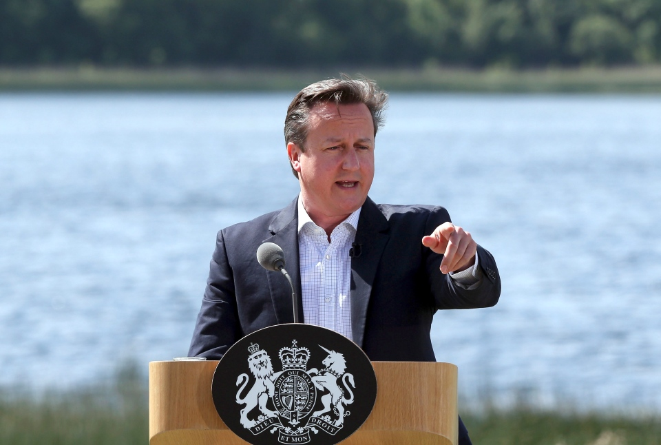 British Prime Minister David Cameron speaks during a media conference at the G8 summit at the Lough Erne golf resort in Enniskillen, Northern Ireland, on Tuesday, June 18, 2013. (AP / Matt Cardy)