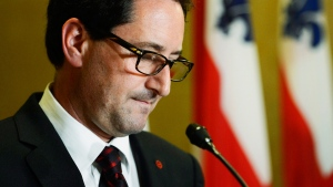 Montreal Mayor Michael Applebaum announces his resignation at a news conference in Montreal, Tuesday, June 18, 2013. (Ryan Remiorz /  THE CANADIAN PRESS)