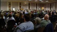 Hundreds take in a conference at the Mayfield Inn on April 10th, 2011.