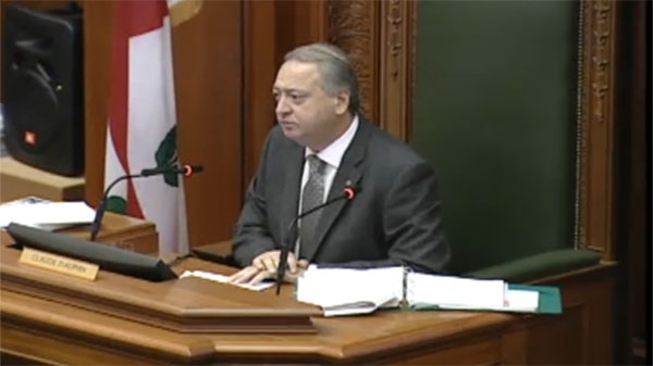 Montreal city council speaker Claude Dauphin refused a request from Mayor Gerald Tremblay to step down from his position amid allegation of improprieties in granting a subsidy in Lachine. (April 11, 2011)