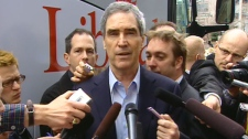 Liberal Leader Michael Ignatieff responds to questions regarding the auditor general's report, Monday, April 11, 2011.