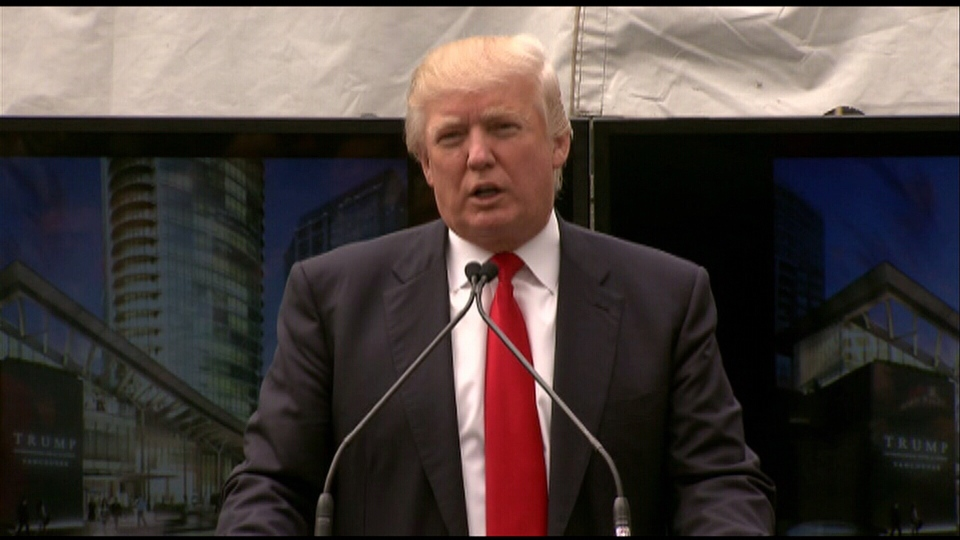 Donald Trump is photographed during a news conference for the new Trump International Hotel & Tower Vancouver.  June 19, 2013.
