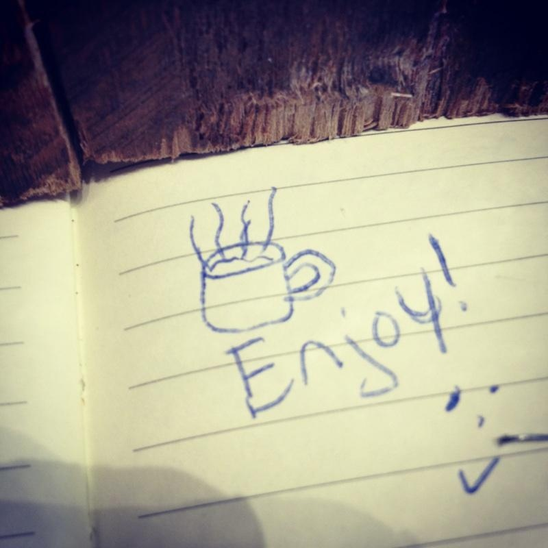 """One of the many friendly notes left by customers who are """"suspending"""" coffees for future patrons at Roast Coffee and Tea Co. in Calgary."""
