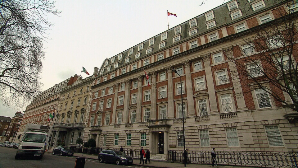 The historic Macdonald House in central London -- a residence usually used by the prime minister and governor general for official functions when they visit the city.