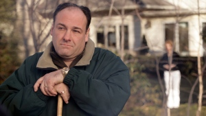 James Gandolfini as Tony Soprano in a scene from one of the last episodes of the HBO dramatic series 'The Sopranos.' (HBO / Craig Blankenhorn)