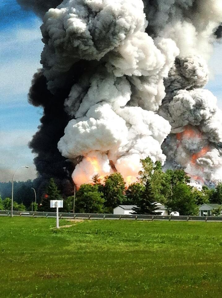 John Dawson of Vankleek Hill, Ontario, posted this photo to his Facebook page of the Coteau du Lac explosion on June 20, 2013